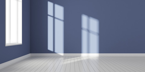 Stimulate image of white and blue empty room with laminate wood floor with and sun light cast shadow on the wall,Perspective of minimal design architecture. 3D rendering.
