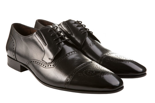 dark brown fashionable men's shoes, classic shoes, on a white background, isolate