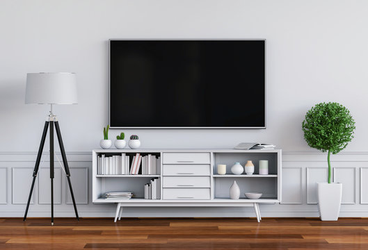 3D render of interior living  room with Smart TV