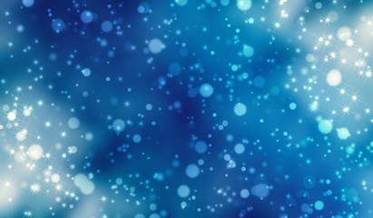 Festive christmas blue background with bokeh, glow, lights, snowflakes