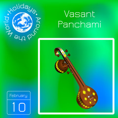 Vasant Panchami. Indian religious festival. Musical instrument Veena. Calendar. Holidays Around the World. Event of each day. Green blur background - name, date illustration