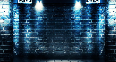 Background of a dark room with brick walls and concrete floor. Neon light, spotlight, smoke, fog,...