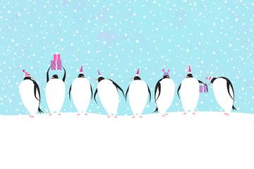 Penguins celebrate Christmas. Winter holidays vector illustration.