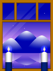 Independence Day of Finland. The concept of a national holiday. Window overlooking the mountain landscape. 2 white and blue candles.