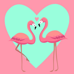 Flamingos in love vector illustration
