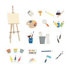 Art tools and easel on white background. Children art and design school concept. Cartoon illustration in flat style