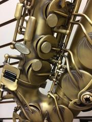 detailed close up of saxophone keys