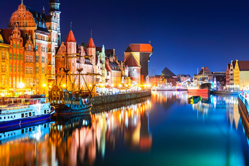 Fotobehang Europa Night view of the Old Town of Gdansk, Poland