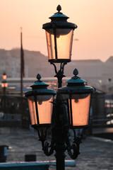 Venice street lights at sunrise