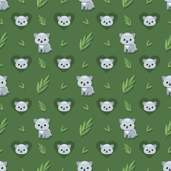 Seamless pattern with Koalas and eucalyptus