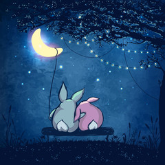 Couple of cute rabbits hugging under magical tree with festive lights at night sky with crescent and stars. Valentines day Romantic illustration.