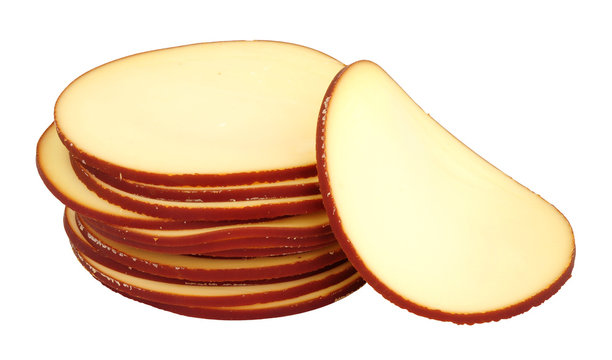 German smoked cheese slices isolated on a white background