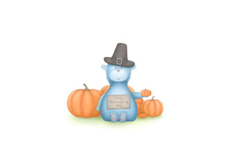 cute hand draw illustration of blue fantasy animal, sitting down with pumpkins and sign with text Happy Thanksgiving Day, isolated on white background