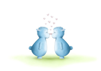 two cute hand drawn, gender neutral, blue fantasy creatures, equal sexes, showing love by rubbing noses, on white background