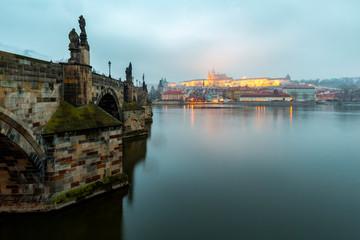 Charles Bridge at Dusk.Europe, Czech Republic, Bohemia, Prague