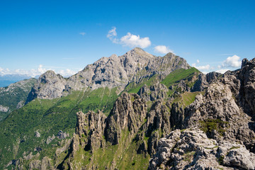 A view of Grignone mount from Rosalba refuge. Valsassina, Lecco district, Lombardy, Italy