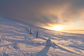 Sunset at Pallas-Yllastunturi National Park (Muonio, Lapland, Finland, Europe)