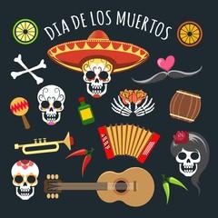 Dead day. November mexican holiday dia de los muertos, day of the dead, elements with dead sugar skulls, vector illustration