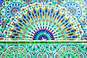 Moroccan mosaic tile, ceramic decoration of Hassan II Mosque, Casablanca, Morocco