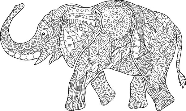 Beautiful coloring book page with cartoon elephant
