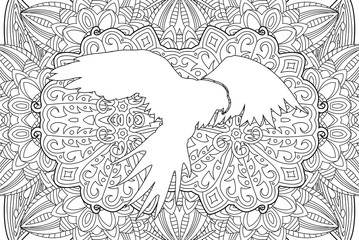 Beautiful adult  coloring book page with parrot