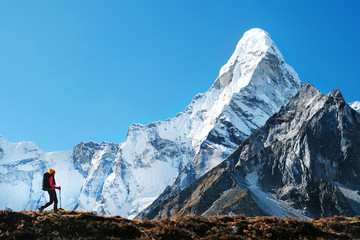 Fototapeta Hiker with backpacks in Himalayas mountain, Nepal. Active sport concept. obraz