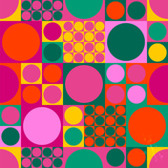 seamless abstract geometric pop art background pattern, retro/vintage sixties style, with cirles and squares