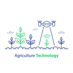 Smart farming, agriculture technology, plant stem and flying drone, innovation concept, automation solution, growth control
