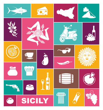 Set of icons on a theme of Sicily