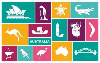 Australian icons. Vector Illustration in flat style
