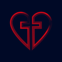 Christian cross inside red heart painted by brush. Vector illustration isolated in dark blue background.