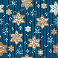 Snowflake or gingerbread decorate and tree for winter or Christmas festival seamless pattern vector background with blue and brown theme