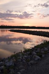 sunset over Finnish lake