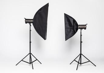 Studio lighting on white background. Studio photography tools isolated.