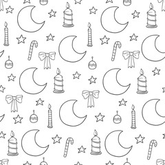 Christmas and new year seamless pattern. Vector holiday black white background with moon, candle and stars for greeting card design and packaging.