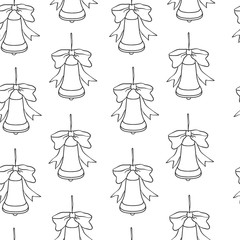 Christmas and new year seamless pattern. Vector holiday black white background with bells for greeting card design and packaging.