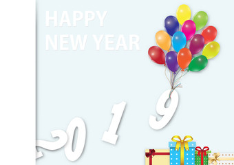 Balloon with gift boxes, Happy new year 2019 background vector illustration