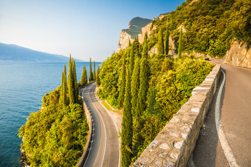 Scenic SS45 road on the west side of Garda Lake. Brescia district, Lombardia, Italy