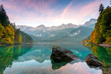 lake Tovel in autumn at sunrise.Europe, Trentino, Non valley, Trento province, Ville d'Anaunia municipality
