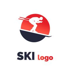 Ski race Logo Isolated Vector. Winter Sport Emblem.