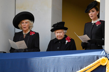 Britain's Queen Elizabeth, Camilla, Duchess of Cornwall and Catherine, Duchess of Cambridge, attend a National Service of Remembrance at The Cenotaph in Westminster, London