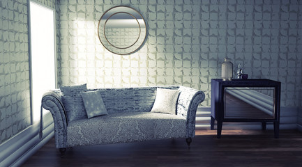 Beatiful Interior Design with a Grey Upholstered Sofa and a Golden Wallpaper