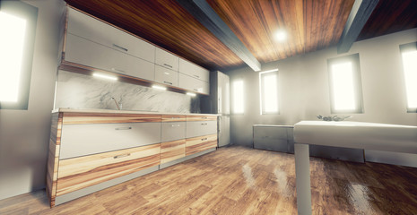Modern Interior Design. Wood Floor, white walls, grey fabric sofa, white and wood kitchen and modern decoration.