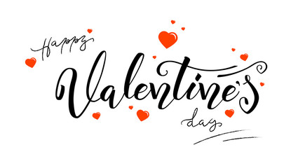Happy Valentines day, calligraphy in vintage style. Hand-drawn brush pen lettering isolated on white background. Template for holiday greeting, invitation, wedding cards