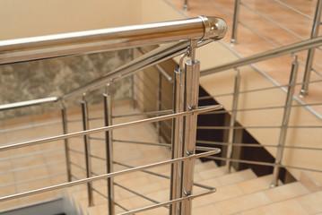metal railings on the landing in the hotel