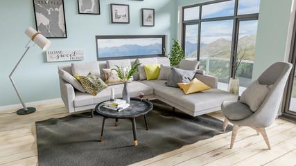 3D Rendering of a Scandinavian/ Modern Interior Scene