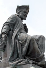 Ville de Chinon, statue de François Rabelais, Indre-et-Loire, France