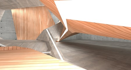 Abstract  concrete and wood interior  with neon lighting. 3D illustration and rendering.