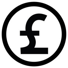 Pound sterling currency icon black and white logo.eps