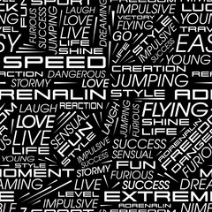 Vector seamless pattern in the style of racing cars with the words speed, extreme, flying, adrenaline and others
